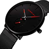 montres, homme Noir Ultra mince montre minimaliste Mode montre de luxe pour homme Business Robe décontractée étanche montre à quartz pour homme avec cadran Bande