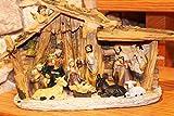 Kamaca KRIPPE WEIHNACHTSKRIPPE handveredelt mit Moos verziert Winter Advent Weihnachten (11 Figuren 32 x 18,5 cm)