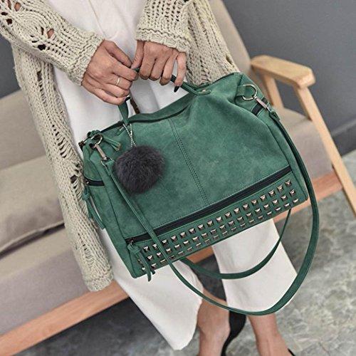Longra Sacchetto di spalla di grande borsa del rivetto dellunità di elaborazione di colore solido Verde
