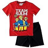 Feuerwehrmann Sam - Kinder Shorty Pyjama - Schlafanzug kurz Gr. 92-140, Größe:140, Farbe:Rot