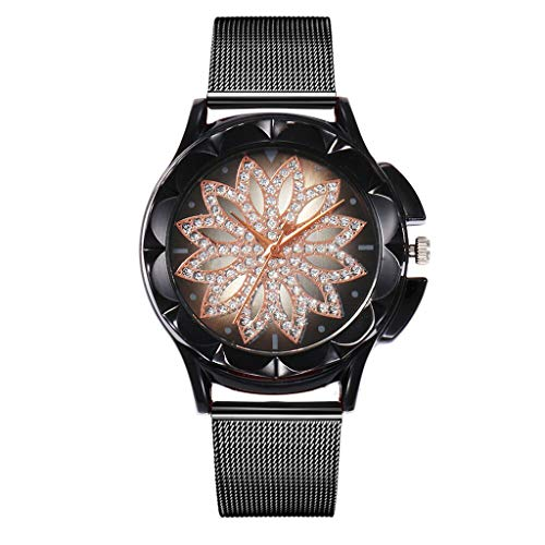 Tohole Frauen Edelstahl Armband Band Analog Quarz Runde Armbanduhr Uhren Legierungs Quarz Uhr der Frauen armbanduhr herren fossil damenuhr sportuhr(Schwarz,One size)