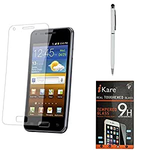 iKare Pack of 2 Premium Shatter Proof Tempered Glass Ultra Clear Screen Protector for Samsung Galaxy Grand 2 + Pen Stylus
