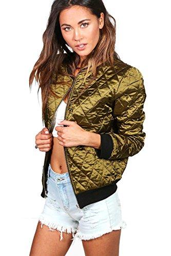 Damen Khaki Paige Gesteppte Bomberjacke In Satin-optik Khaki