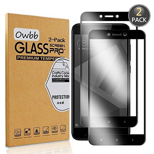 Owbb [2 Stück] Schwarz Gehärtetes Glas Display schutzfolie Für Xiaomi Redmi 4X Full Coverage Schutz 99% High Transparent Explosionsgeschützter Film