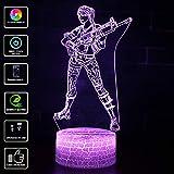 Regalos Lámpara de ilusión visual 3D Lámpara de mesa de escritorio LED Lámpara de color 7 Pantalla táctil Dormitorio Decoración de oficina para niños Cumpleaños Regalo de Navidad (Model 3)