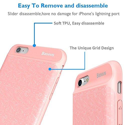 iPhone 6/6S Akku Fall, Baseus Grid Mobile Power Rückseite Clip Phone Case, Ohne Kinn Ultra Dünn Extended Wiederaufladbare Backup Akku Schutzhülle für iPhone 6/6S mit 2500mAh Kapazität/Anwendung DAS A rose