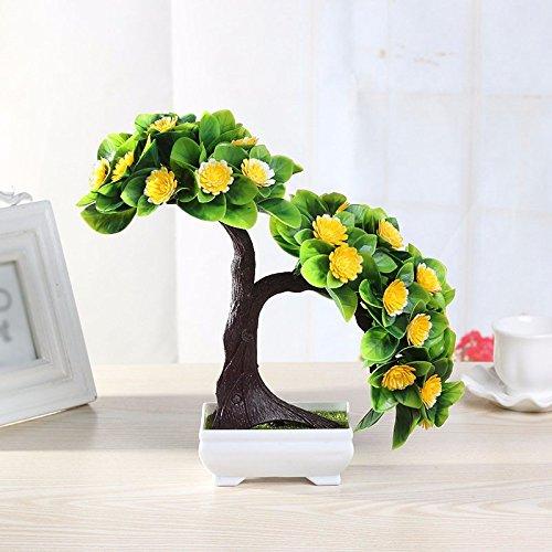 GBHNJ Artificial Flower GBHNJ Faux Fleurs Cadeau Table Basse Gala Simulation Plantes En Pot Decoration Plastique Plantes Acacia Yellow