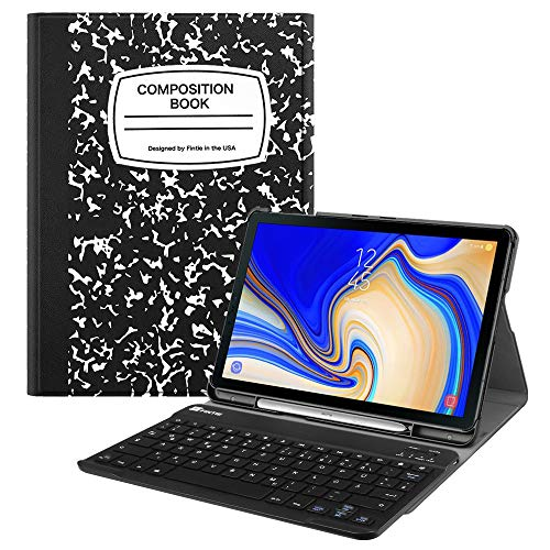 Fintie Tastatur Hülle für Samsung Galaxy Tab S4 T830 / T835 (10.5 Zoll) 2018 Tablet-PC - Ultradünn Schutzhülle mit magnetisch Abnehmbarer drahtloser Deutscher Bluetooth Tastatur, Notizblock - Tablet Deckt S4 Galaxy Samsung