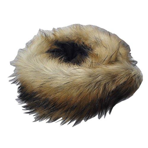 Modelshow donna artificiale pelliccia ecologica collare smontabile fazzoletto da collo staccabile collo scaldino collare per cappotti scialle inverno (jacquard marrone)