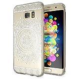 NALIA Handyhülle für Samsung Galaxy S7 Edge, Slim Silikon Motiv Case Hülle Cover Crystal Schutzhülle Dünn Durchsichtig, Etui Handy-Tasche Backcover Transparent Bumper, Designs:Circle Flowers