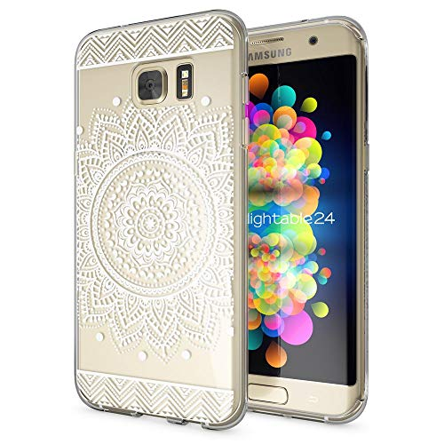 galaxy s 7 edge huelle NALIA Handyhülle für Samsung Galaxy S7 Edge, Slim Silikon Motiv Case Hülle Cover Crystal Schutzhülle Dünn Durchsichtig, Etui Handy-Tasche Backcover Transparent Bumper, Designs:Circle Flowers