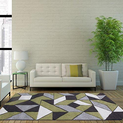 Rio Green Grey Geometric Tiles Mosaic Modern Design Living Room Area Rug 120cm x 170cm