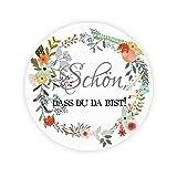 48x Boho Blumen Kranz Sticker Aufkleber - Schön, dass du da bist ! zur Hochzeit / Taufe / Geburtstag / Kommunion/ Konfirmation - 4 cm Papieraufkleber Etiketten Siegel für Gastgeschenk,Tischdeko,Flaschen,Partytüte,Danksagungen - UNI 232