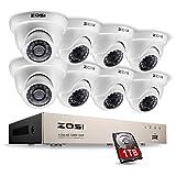 ZOSI 8CH 1080P Kit Vidéosurveillance 1 to HDD 8CH HDMI DVR avec 8 Caméras de Surveillance dôme Extérieur 2MP 20M Vision Nocturne IR APP Gratuite