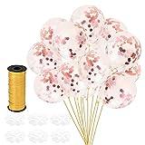 Artoper 30 Stück Rosa Konfetti Ballons, Latex Luftballons Ø 30cm mit Rosa Folie Konfetti für Geburtstagsfeier Hochzeit Party und Festival Dekoration (30 Stück - Rosa)