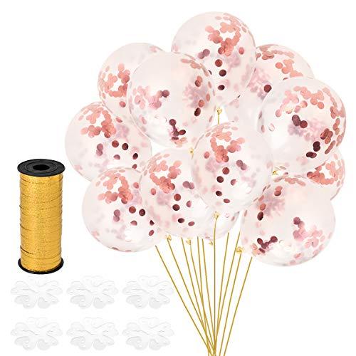 ose Gold Konfetti Ballons, Latex Luftballons Ø 30cm mit Rosa Folie Konfetti für Geburtstagsfeier Hochzeit Party und Festival Dekoration (30 Stück - Rose Gold) ()
