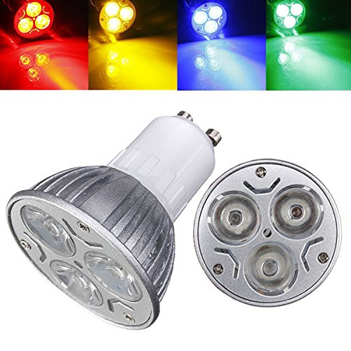 Bazaar Gu10 3w ac 220v 3 LED s rot/gelb/blau/grün LED entdeckt Glühbirnen