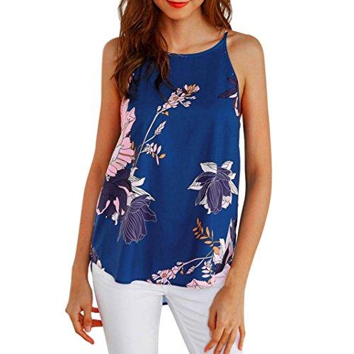JUTOO Frauen Sleeveless Blumen-oberstes beiläufiges Blusen-Weste-T-Shirt(Blau,EU:42/CN:L)