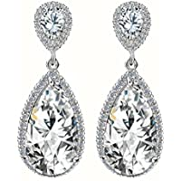 SaySure - Classic Elegant Drop Earrings AAA Teardrop Shape