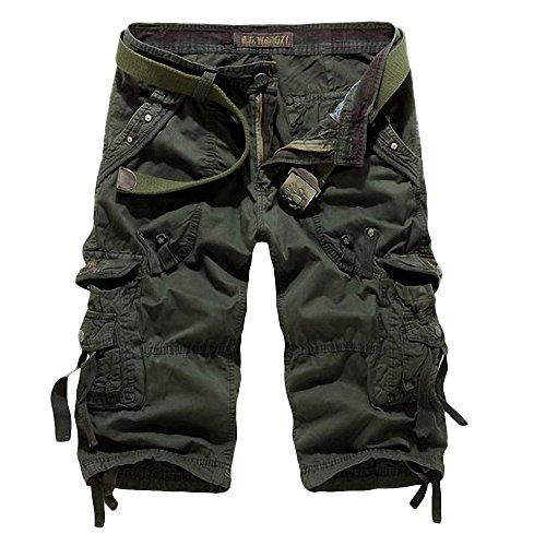 Minetom Herren Jungen Hose Cargo Shorts Sommer Bermuda Capri Kurze hose Männer ( Armeegrün 1 EU XS ) Loom Kinder-zip