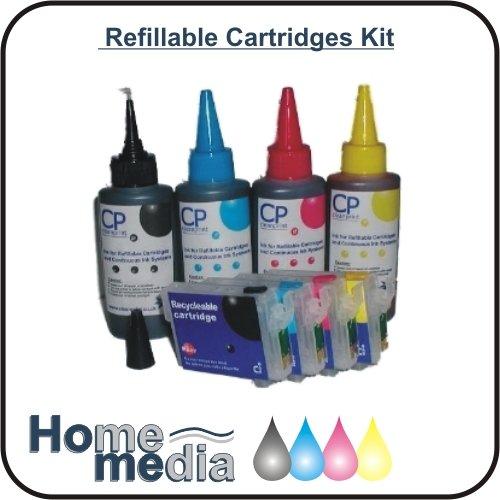 Home Media Refillables T0715 Druckerpatronen-Set zum Nachfüllen von Patronen, leere, auffüllbare Druckerpatronen und 100 ml Dye-Based-Tintenbehälter, ersetzt Epson T0715 Druckerpatronen Multipack, für Epson Stylus D78/D92/DX4000/DX4050/DX4400/DX4450/DX5000/DX5050/DX6000/DX6050/DX7000F/DX7400/ DX7450/DX8400/DX8450/DX9400F/DX9450F/S20/S21/SX100/SX105/SX110/SX115/SX200/SX205/SX210/SX215/ SX218/SX400/SX405/SX410/SX415/SX510W/SX515W/SX600FW/SX610FW/B40W/BX300F/BX310F/BX600FW/ BX610FW, je 4 Stück