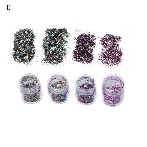 2.0mm Eine Gruppe von 4 Farben Nail Art Tipps Aufkleber Acryl 3D Glitzer Sequins Maniküre DIY...