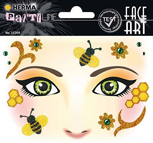 HERMA 15304 Face Art Sticker Honey Bee Gesicht Aufkleber Glitzer Sticker für Fasching, Karneval, Halloween, dermatologisch - Honey Bee Kostüm Kinder