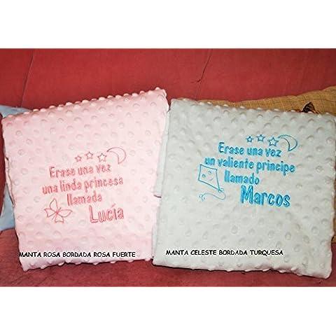 PRIMERAEDAD/Manta bebé para coche y minicuna con dos capas y topitos tacto terciopelo, personalizada con cuento y nombre bebé