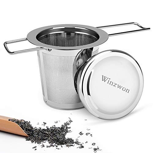 Winzwon Teesieb, Teefilter mit Deckel, Abtropfschale, 304 Edelstahl TeeSieb für losen Tee, Premium Sieb, Faltbare Griffgestaltung Passend für die Meisten Tee-Tassen und Tee-Schalen (1 PACK)