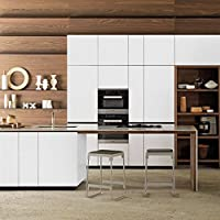 KINLO 5X0.61M Pegatinas Pared Madera Autoadhesivo PVC Vinilo Pegatinas Mueble Stickers Cocina 3D Papel Pintado Impermeable para Muebles/Cocina/Baño Color Blanco