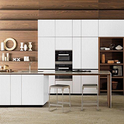 KINLO Klebefolie HOLZOPTIK Wasserdicht Weiß 5x0.61M Möbelsticker für Möbel aus hochwertigem PVC Folie Küchefolie Dekofolie ölabweisung antibakteriell