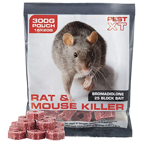 Pest XT 300g Poison Bait Block, Rat and Mice Killer, Compatible with All  Bait Stations (600g)