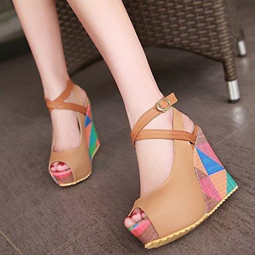 Cunhas Damen De toe Sapatos Sandalen Plataforma De Peep Taoffen Damasco Impressão Salto Alto Slingback 5pqSw4Fdx