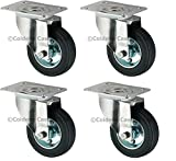Pack of 4 Heavy Duty Swivel Rubber Castor Caster Wheels 100mm Industrial Trolley Wheel NEW,Coldene Castors