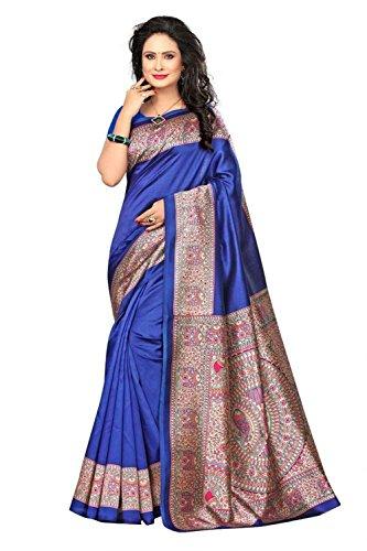 Indian Bollywood Wedding Saree indisch Ethnic Hochzeit Sari New Kleid Damen Casual Tuch Birthday Crop top mädchen Cotton Silk Women Plain Traditional Party wear Readymade Kostüm (Blue) Blue Silk Sari Saree