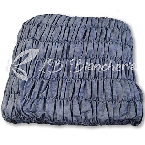 Copridivano universale arricciato - 5 posti - divano angolare - tinta unita melange blu