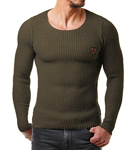 EightyFive Herren Pullover Feinstrick Slim Fit Schwarz Weiß Grau Beige Blau Rot EF1472