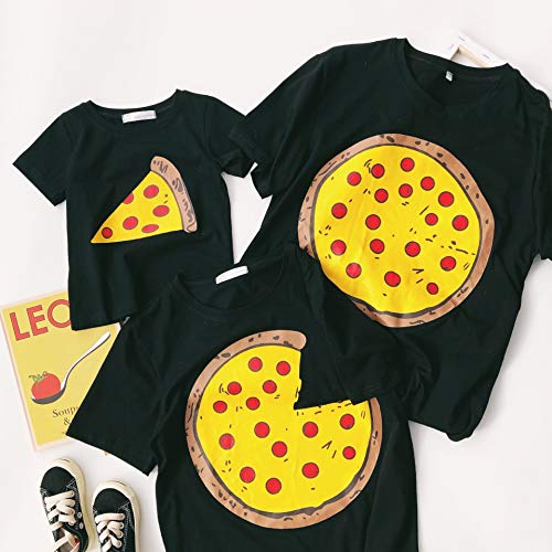 Pizza Kind Kostüm Stück - XMDNYE Familie passenden Pizza T-Shirt Mädchen Kostüm Mode lustige Outfits Kinder Tops Jungen Kleidung Mutter Tochter Tees