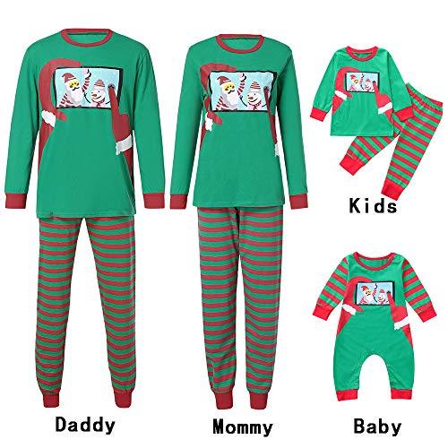 Cramberdy Weihnachts Pyjama für Familie, Schlafanzug Weihnachten Pyjama Familien Set Cartoon Drucken Streifen Familie Kleidung Sets Schlafanzug Pyjama Set Eingestellt Schlafanzughosen Outfits ()