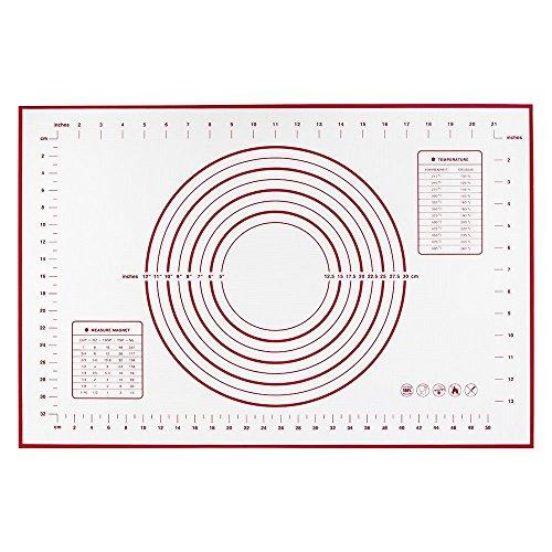 IKOCO Grandes alfombras de silicona para hornear (60 x 40 cm), alfombrilla antiadherente antideslizante con medidas / alfombra de pasta de azúcar / alfombrilla de trabajo para pasteles | 8 círculos Herramienta de pasta, Herramienta Macaron, Herramienta para galletas / galletas | Palos completos a la encimera (rojo)