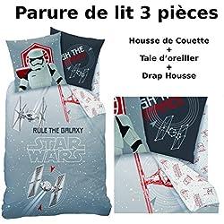 Star Wars Dark Side - Juego de cama de 3 piezas, 100% algodón, funda nórdica (140 x 200cm) + funda de almohada (63 x 63cm) + sábana bajera (90 x 190cm)