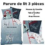 STAR WARS - Parure de lit (3pcs) 100% Coton - Housse de Couette (140x200) + Taie...