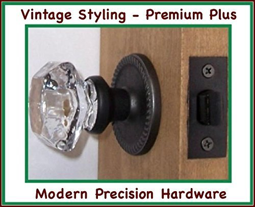 Perfect Reproduction Six Point Princess Old Town 24% Lead Crystal Interior Passage Knob Sets with Oil Rubbed Bronze Over Solid Brass Retrofit Rosettes. The Princess Town Knob with More Facet Dimensions, Previously Only At Much Higher Price. by Rousso's Reproduction -