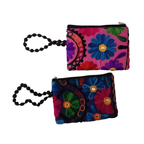 Jaipuri Floral phulkari coton brodé Main Poche pour mobile (Set of 2)