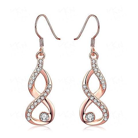 Fashion Jewelry Persönlichkeit Classic Kristall Muster Drop Ohrringe für Frauen Rose vergoldet