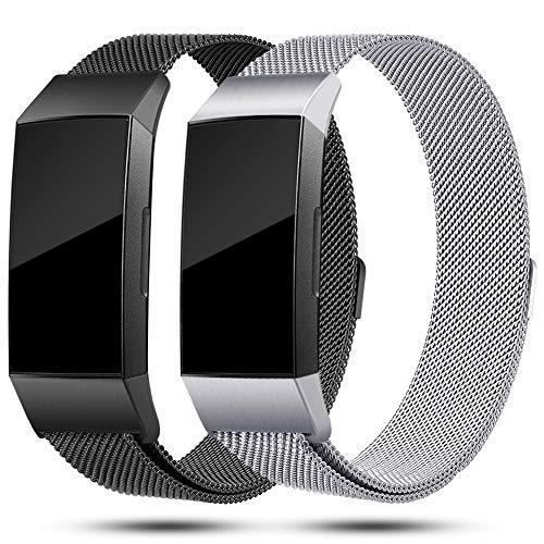 Onedream Kompatibel für Fitbit Charge3 Charge 3 Armband Damen Metall Ersatzarmband Schwarz Silber