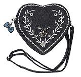 Damen Dirndl Handtasche Herz Umhängetasche - Herztasche florales Design mit Hirsch (Grau)