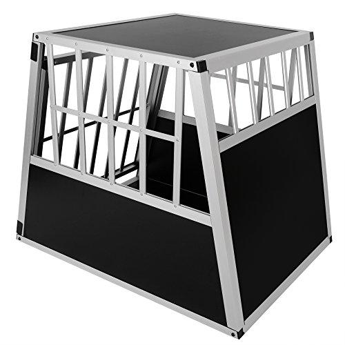 Hundebox Hundetransportbox Aluminium Alu Transportbox Alubox Hund Box 1 Türig Reisebox Gitterbox Schwarz/Silber HT2011 - 5