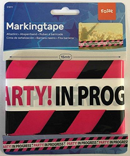 Folat 15m schwarz-pinkes Absperrband * Party in Progress -