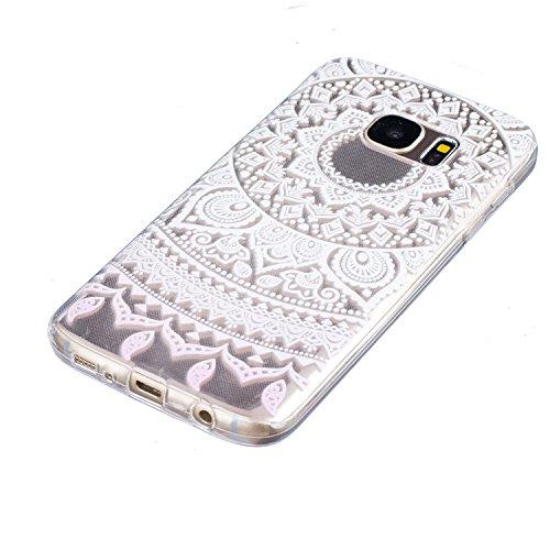 iPhone 6/6S 4.7 gel di silicone Custodia (con Gratuito HD Proteggi schermo) CaseHome Elegante sbalzato bianca Modello Design Cristallo Pulire Ultra magro Magro Antiurto morbido Durevole Graffiare Re Mandala Fiore